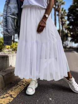 Γυναικεία αέρινη φούστα 5488 άσπρη