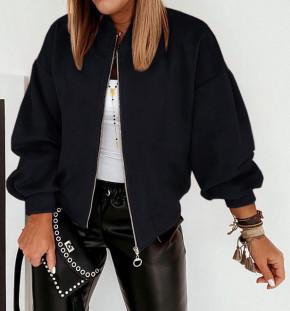 Γυναικείο σουέτ μπουφάν με φερμουάρ 5283 μαύρο