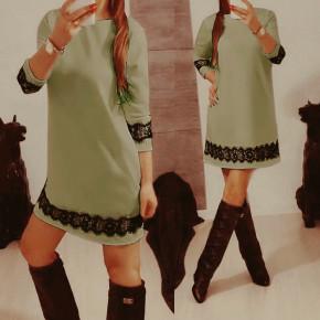 Γυναικείο φόρεμα με δαντέλα 383101 σκούρο πράσινο