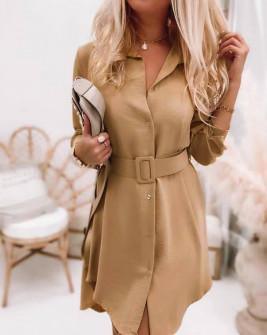 Γυναικείο φόρεμα με ζώνη 5961 καμηλό
