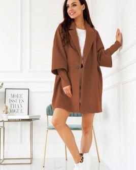 Γυναικείο παλτό με εντυπωσιακό μανίκι 7982 καφέ