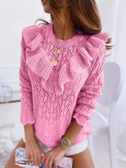 Γυναικείο πουλόβερ με εντυπωσιακό ντεκολτέ 7801 ροζ