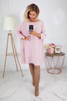 Γυναικείο πλεκτό μπλουζοφόρεμα 8052 ροζ