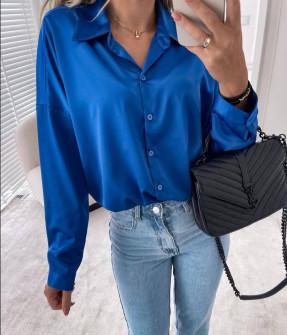 Γυναικείο σατέν πουκάμισο 6073 μπλε