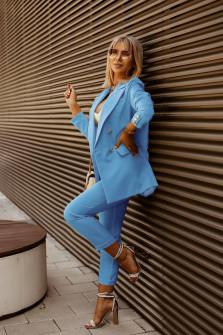 Γυναικείο σετ σακάκι και παντελόνι 5911 γαλάζιο