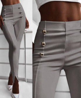 Γυναικείο παντελόνι με σκισίματα 5517 γκρι