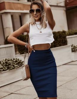 Γυναικεία ψηλόμεση φούστα 5195 σκούρο μπλε