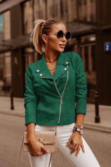 Γυναικείο κοντό σουέτ μπουφάν 5282 πράσινο