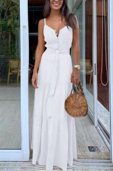 Γυναικείο μακρύ φόρεμα με κουμπιά και ζώνη 5215 άσπρο