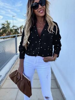 Γυναικείο πουκάμισο πουά 5242 μαύρο