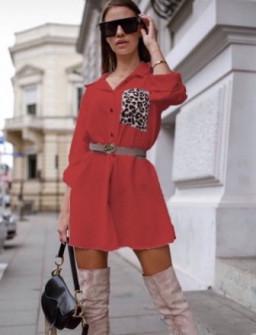 Γυναικείο μπλουζοφόρεμα με εντυπωσιακή τσέπη 2553 κόκκινο