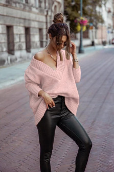 Γυναικείο χαλαρό πουλόβερ 9530 ροζ
