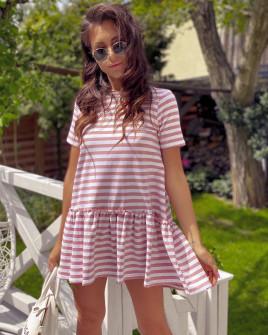 Γυναικείο φόρεμα ριγέ 2462 ροζ