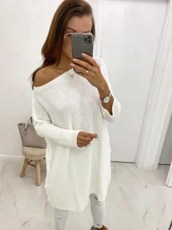 Γυναικείο πλεκτό μπλουζοφόρεμα 8052 άσπρο