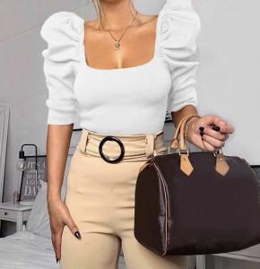 Γυναικεία μπλούζα με φουσκωτό μανίκι 2405 άσπρη