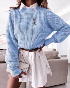 Γυναικείο μονόχρωμο πουλόβερ 00876 γαλάζιο