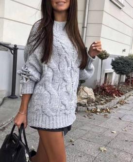 Γυναικείο πουλόβερ με εντυπωσιακά μανίκια 00861 γκρι
