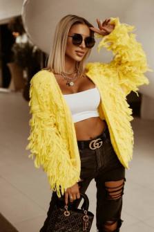 Γυναικεία εντυπωσιακή ζακέτα 00872 κίτρινη
