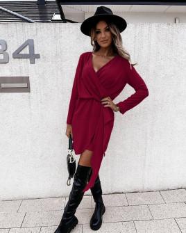 Γυναικείο κομψό φόρεμα 5987 μπορντό