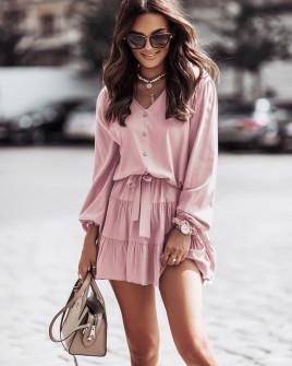 Γυναικείο φόρεμα με ζώνη 5950 ροζ