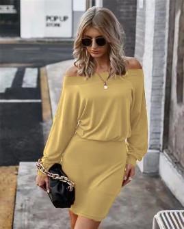 Γυναικείο έξωμο φόρεμα 2668 καμηλό