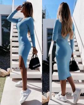 Γυναικείο εφαρμοστό φόρεμα 5578 γαλάζιο