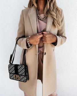 Γυναικείο κομψό παλτό με φόδρα 5332 μπεζ