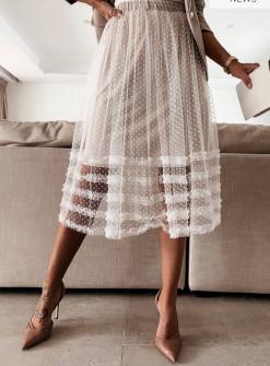 Γυναικεία εντυπωσιακή φούστα με τούλι 21200 άσπρη