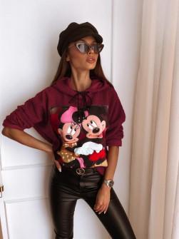 Γυναικεία χνουδωτή μπλούζα με στάμπα13786 μπορντό