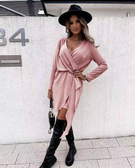 Γυναικείο κομψό φόρεμα 5987  ροζ