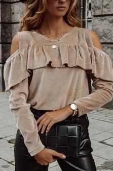 Γυναικεία μπλούζα βελουτέ 5385 μπεζ