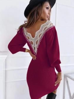 Γυναικείο φόρεμα με εντυπωσιακή πλάτη 3256 μπορντό