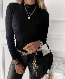 Γυναικεία μπλούζα με χρυσά κουμπιά 4055 μαύρη