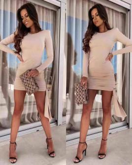 Γυναικείο εφαρμοστό φόρεμα 8058 μπεζ