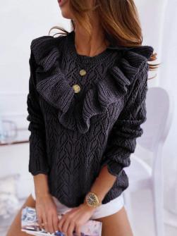 Γυναικείο πουλόβερ με εντυπωσιακό ντεκολτέ 7801 μαύρο