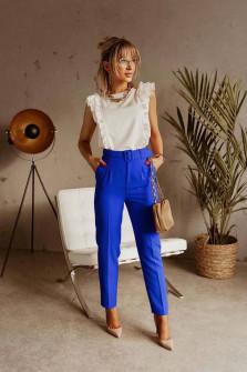 Γυναικείο παντελόνι με ζώνη 5557 μπλε
