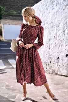 Γυναικείο φόρεμα πουά 2983501 μπορντό
