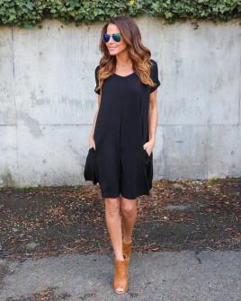 Дамска свободна рокля 13520 черна