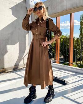 Γυναικείο μακρύ φόρεμα με ζώνη 8046 καμηλό