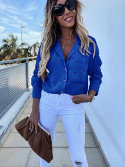 Γυναικείο πουκάμισο πουά 5242 μπλε