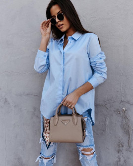 Γυναικείο βαμβακερό πουκάμισο 5551 γαλάζιο