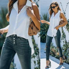 Γυναικείο αμάνικο πουκάμισο 21157 άσπρο