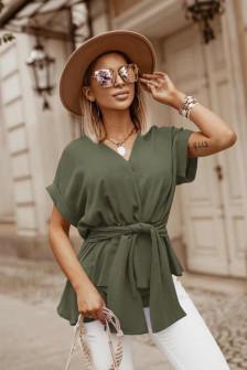 Γυναικεία μπλούζα με δέσιμο στη μέση 5226 σκούρο πράσινο