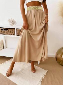 Γυναικεία φούστα με ελαστική ζώνη 82196 καμηλό