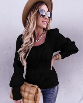 Γυναικείο πουλόβερ με φουσκωτό μανίκι 00758  μαύρο