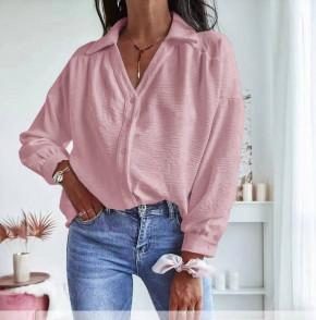Γυναικείο μονόχρωμο πουκάμισο 5932 ροζ