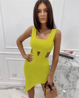 Γυναικείο εφαρμοστό φόρεμα 3670 κίτρινο