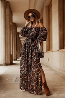 Γυναικείο μακρύ φόρεμα με print 5590202