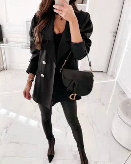 Γυναικείο σακάκι με χρυσά κουμπιά 8045 μαύρο