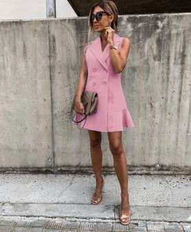 Γυναικείο φόρεμα με κουμπιά από τις δύο πλευρές 5066 ροζ